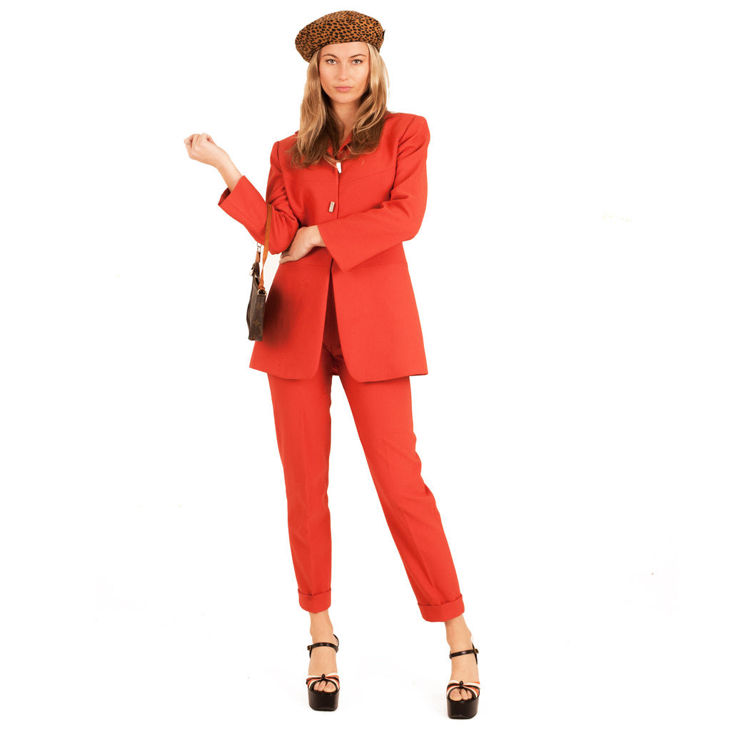 2-Piece Trouser Suit (Orange) UK 6-8