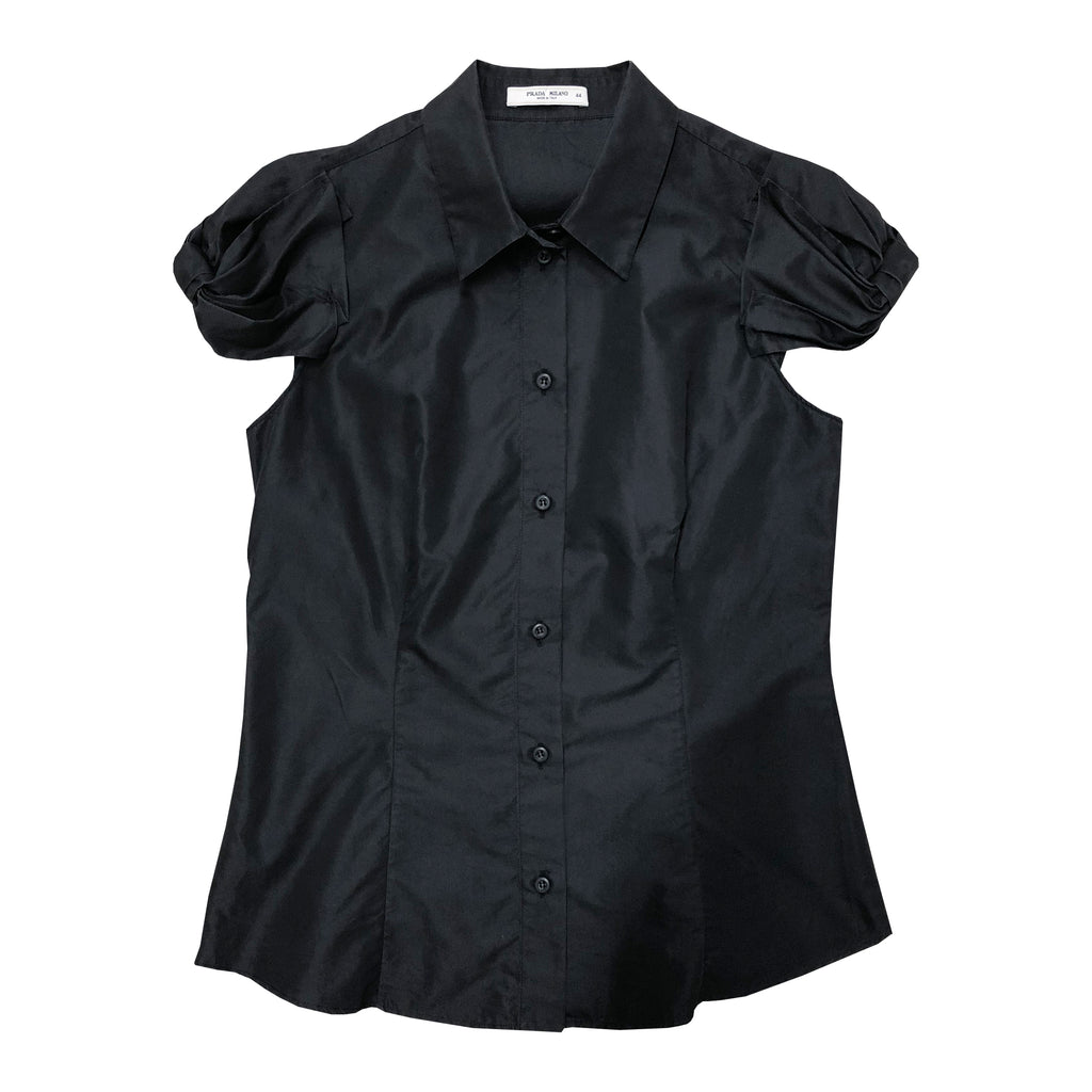 Prada Cap Sleeve Shirt (Black) UK 10