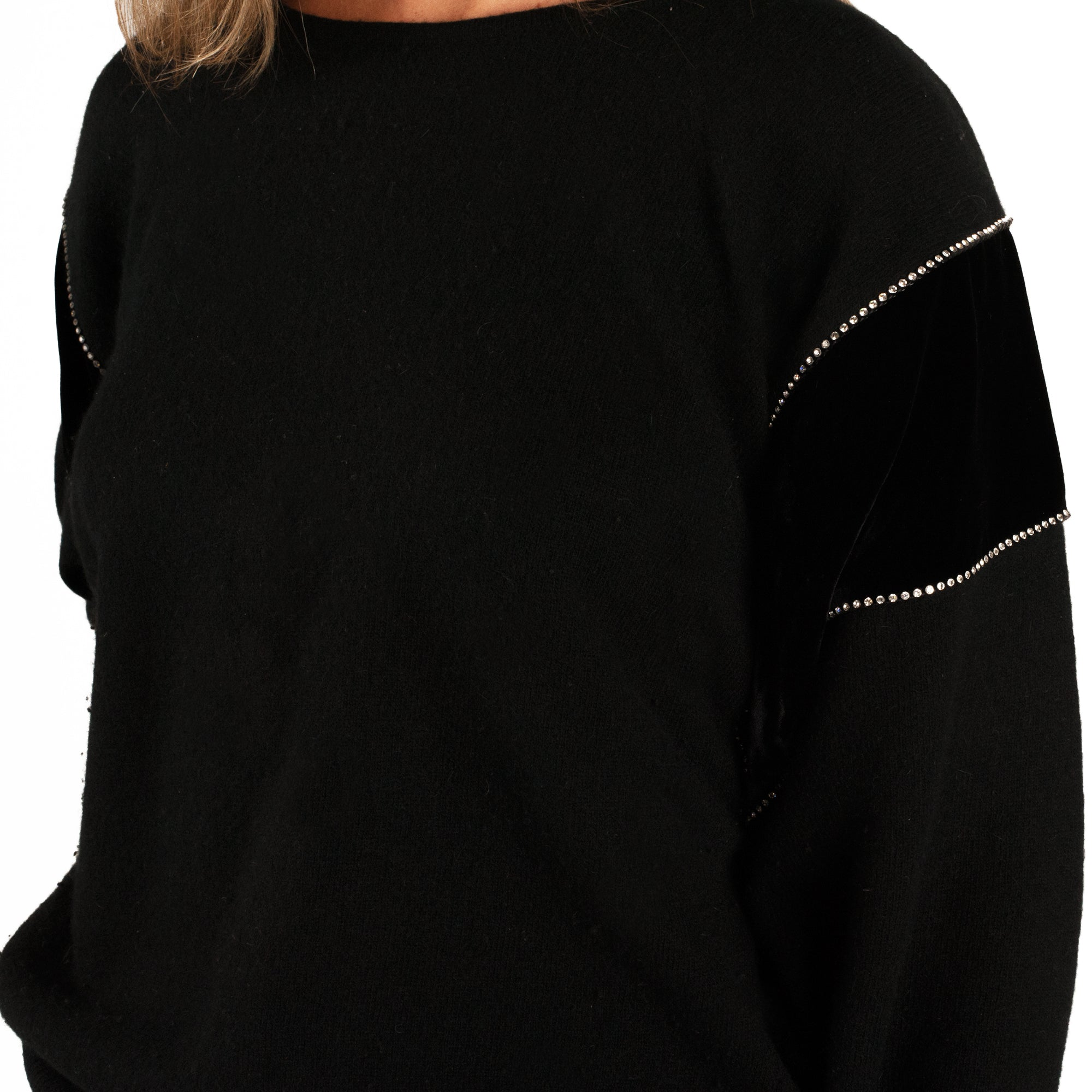 Valentino Diamante Trim Sweater (Black) UK 6-10