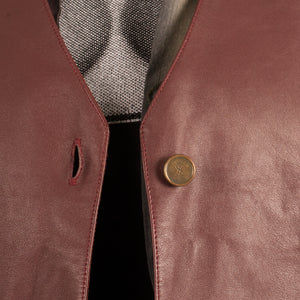Yves Saint Laurent Leather Vest (Burgundy) UK 10-12