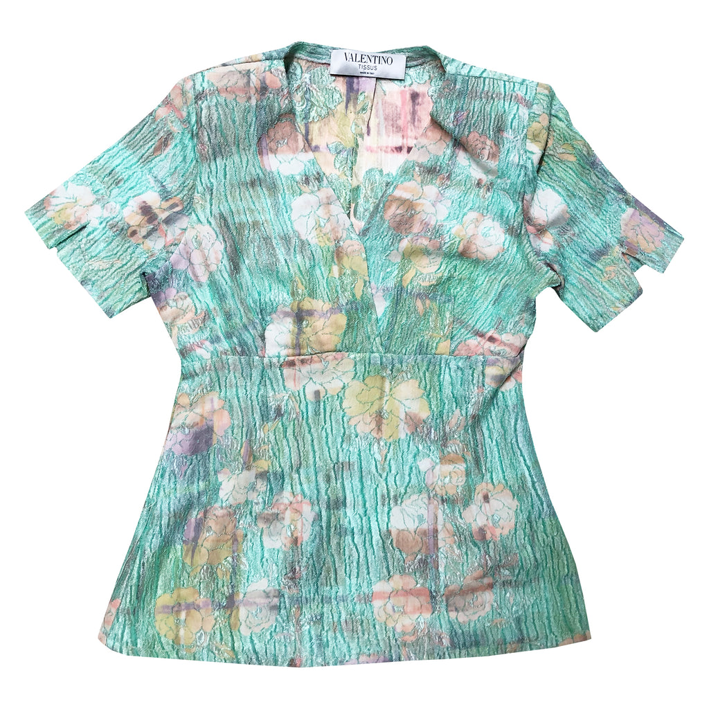 Valentino Floral Blouse (Turquoise) UK 8/10