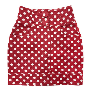 Moschino Polka Dot Mini Skirt (Red) UK 8