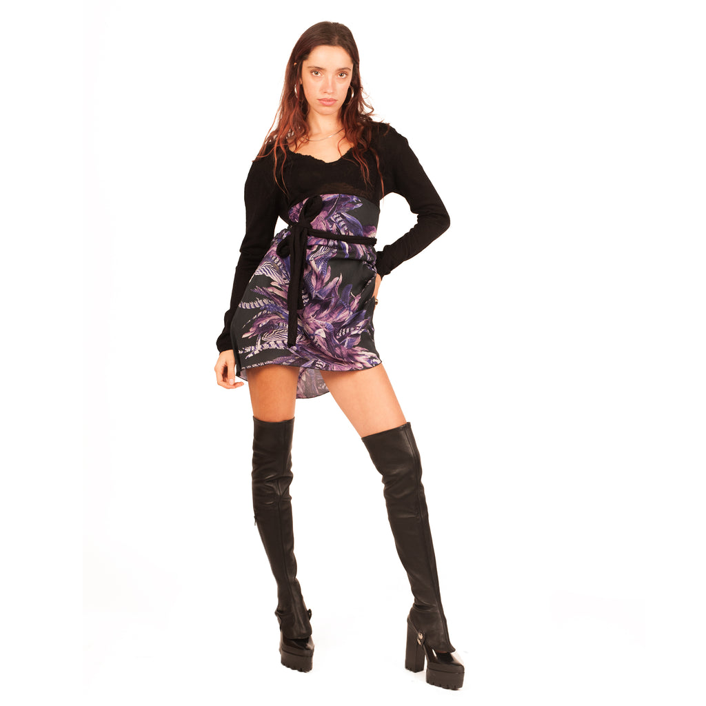 Roberto Cavalli Dress (Black/Purple) UK 6-10