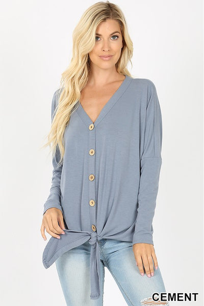 Top - Button-Down Top with V-Neck and Tie Front - Long Sleeves