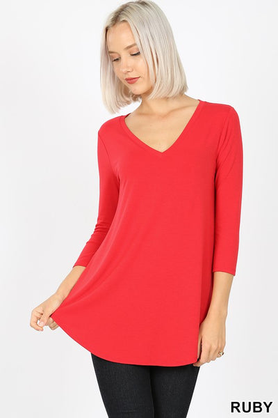 Clothing - V-Neck Top with 3/4 Sleeves and Round Hem