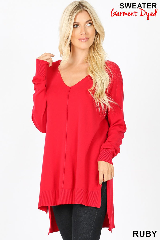 Clothing - Sweater with Front Seam, Long Sleeves and Hi-Lo Hem