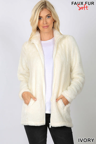 Clothing - Faux Fur Zipper Front Jacket with Side Pockets