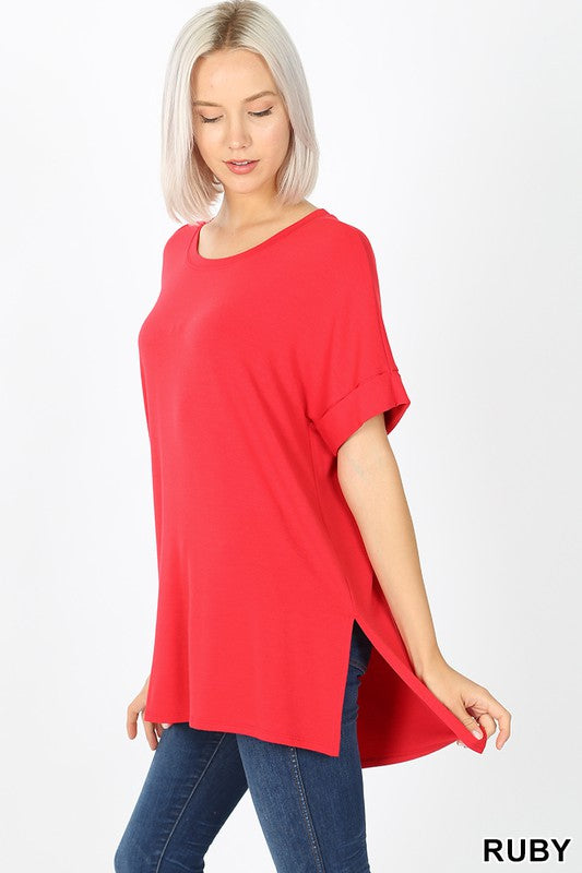 Clothing - Relaxed Fit Rolled Short Sleeve Round Neck Tee