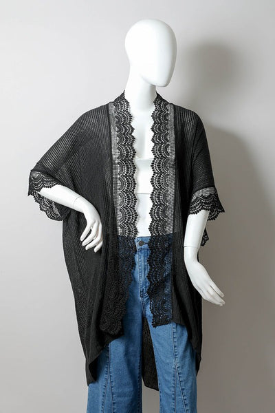 Clothing - Kimono - Black Lightly Textured with Lace Trim