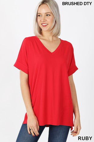 Clothing - Plus V-Neck Tops with Rolled Short Sleeve