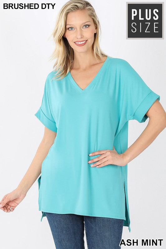 Clothing - V-Neck Tops with Rolled Short Sleeve