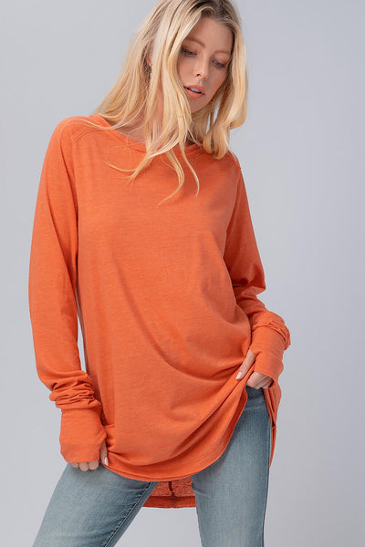 Clothing - Top - Vintage tri-blend raw edge basic oversize top with thumb hole