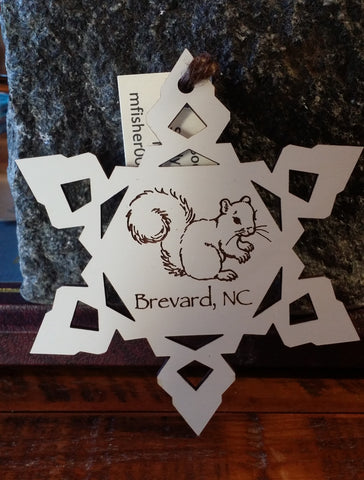 Ornament - Laser Dye Cut Snowflake White Squirrel with Brevard, NC