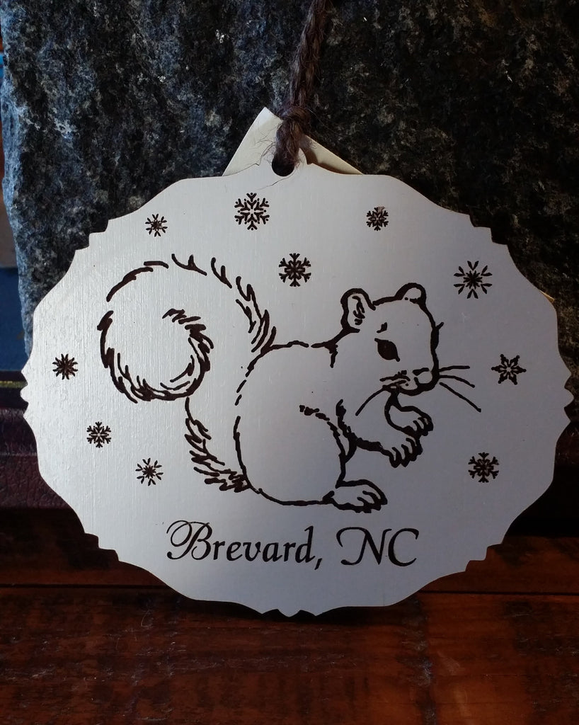 Ornament - Laser Oval with Snowflakes, the White Squirrel and Brevard, NC #