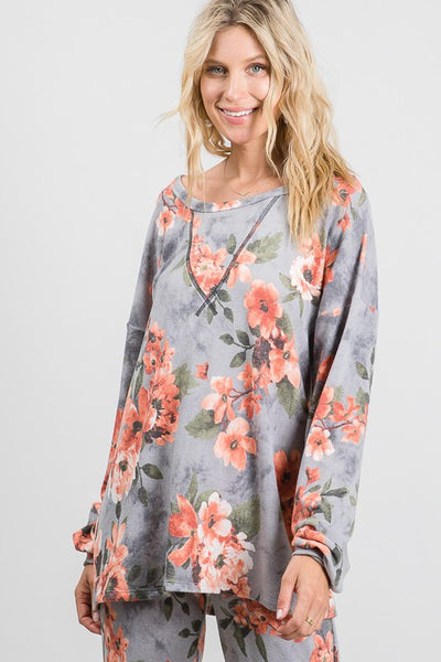 Clothing - Soft Floral Print Top to Match Jogger Pants