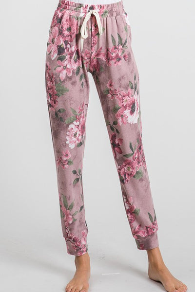 Clothing - Jogger Pants - Floral Print - For Ladies