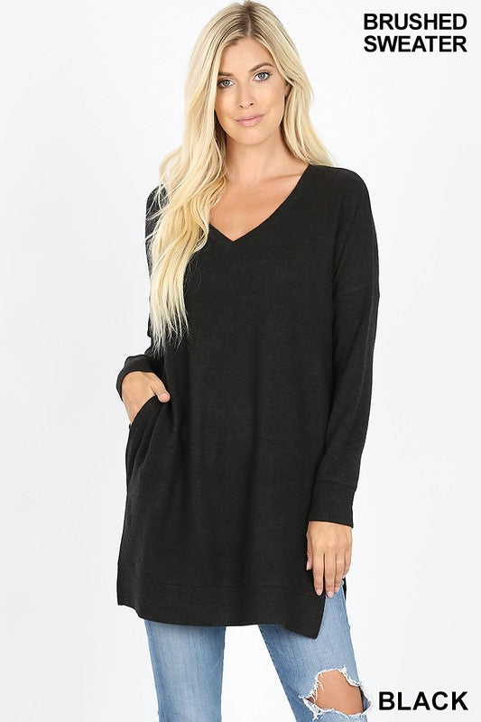 Clothing - Long Sleeve V-Neck Brushed Melange Sweater