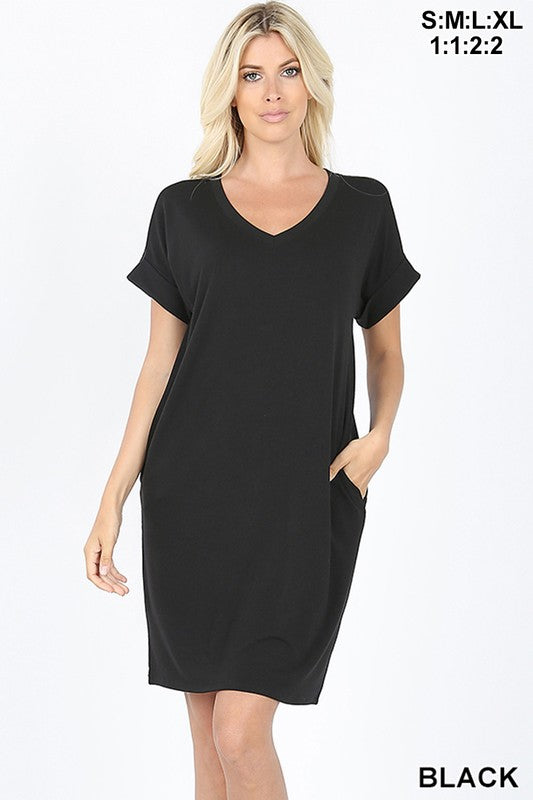 "Clothing - V-Neck Dress 37.5"" Length - Buttery Soft - Short Rolled Sleeve"