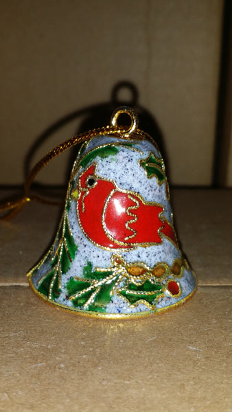 Ornament - Cardinal and White Squirrel Sleigh Bell Custom Cloisonne - Handcrafted metal #