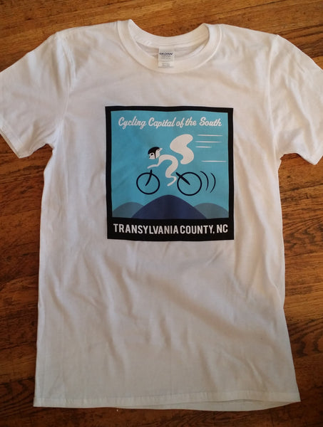 T-Shirt - Short Sleeved with Cycling White Squirrel - Cycling Capital of the South