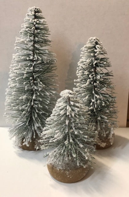 Miniature flocked Christmas trees in three sizes #