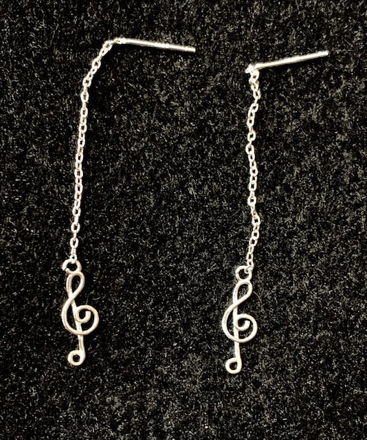 Jewelry - Sterling Silver Treble Clef Earrings on a Delicate Chain