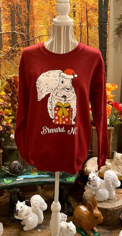 Christmas Sweatshirt - For Adults -  Burgundy Unisex Sweatshirt with Santa White Squirrel