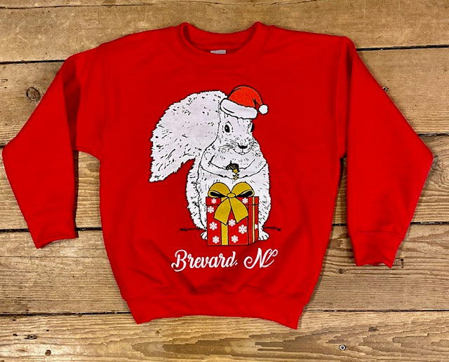Sweatshirt - Christmas Sweatshirt - For Youth - Red Crew Neck with White Christmas Squirrel