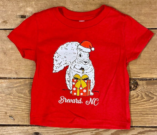 Christmas T-Shirt for Toddlers - Bright Red with a White Santa Squirrel