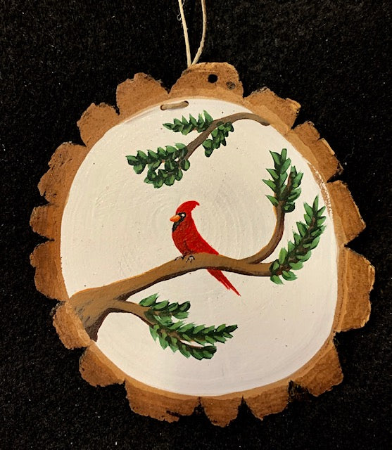 Ornament - Hand-Painted Cardinal on a Log Slice