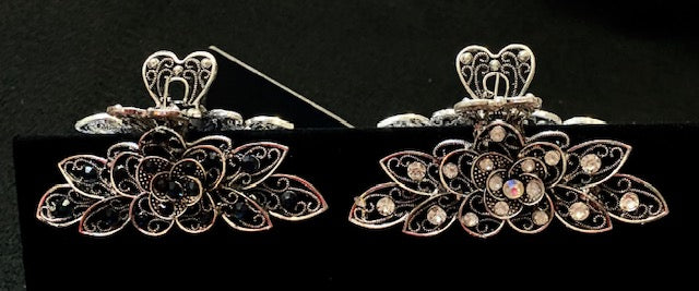 "Hair Clips - 3-1/2"" Metal Jaw Hair Clip Embellished with Jeweled Crystals"