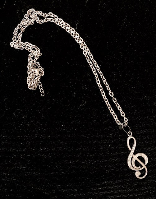 Jewelry - Treble Clef Necklace with Small Crystals