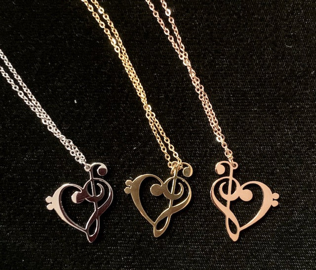 Jewelry - Necklace - Treble Clef & a Heart