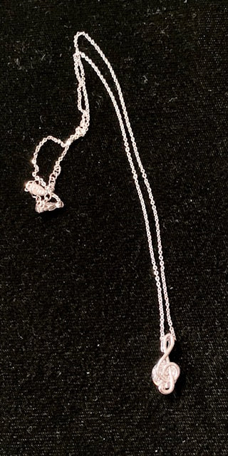 Jewelry - Necklace - Double Treble Clef with a Big Crystal in Between
