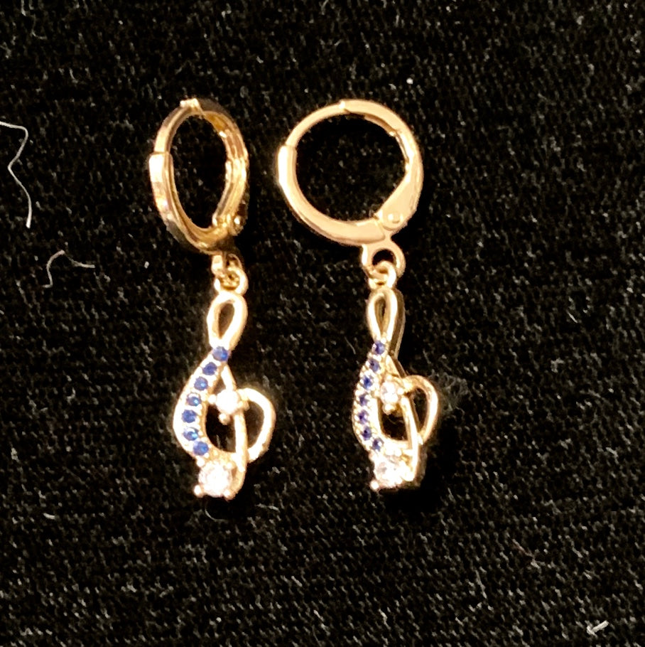 Jewelry - Treble Clef Earrings with Sapphire Crystals and One Large Clear Crystal