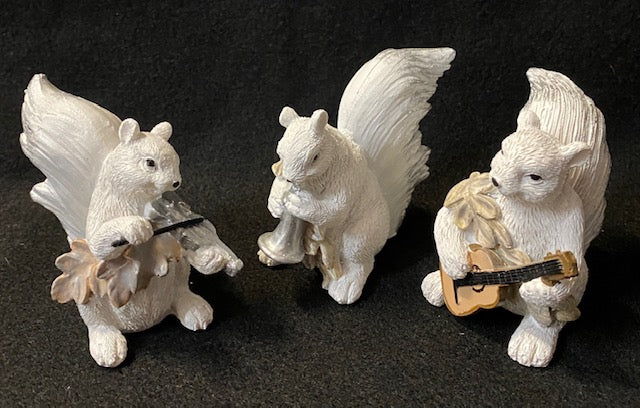 Figurines - Hand-Painted White Squirrels Playing Musical Instruments - Set of 3