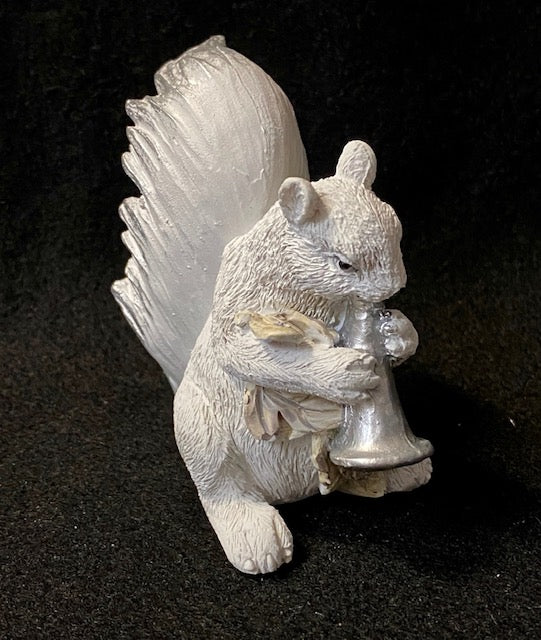 Figurine - Hand-Painted White Squirrel Playing a Trumpet