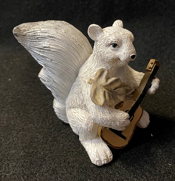 Figurine - Hand-Painted White Squirrel Playing a Guitar