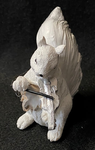 Figurine - Hand-Painted White Squirrel Playing a Violin