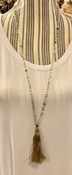Jewelry - Tassle Necklace in Earth Tones - 4 mm beads