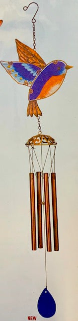 Windchime - Bluebird with Four Copper Chimes