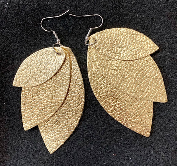 Jewelry - Leather Metallic Earrings