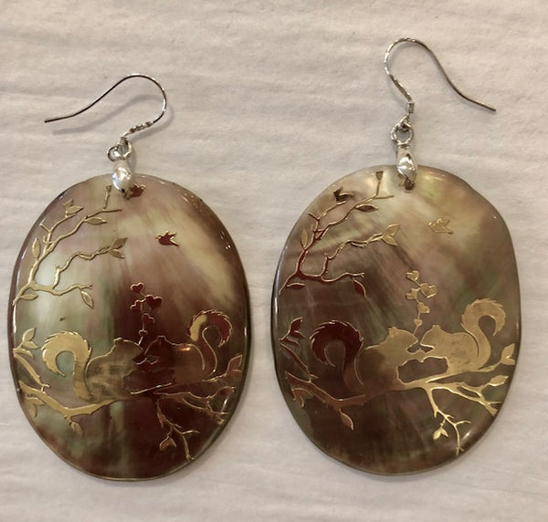 Jewelry - Earrings - Abalone Shell Earrings with Gold Squirrel Design