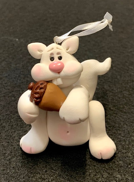 "Ornament - ""Squirrel Babies"" - Handcrafted Clay White Squirrels"