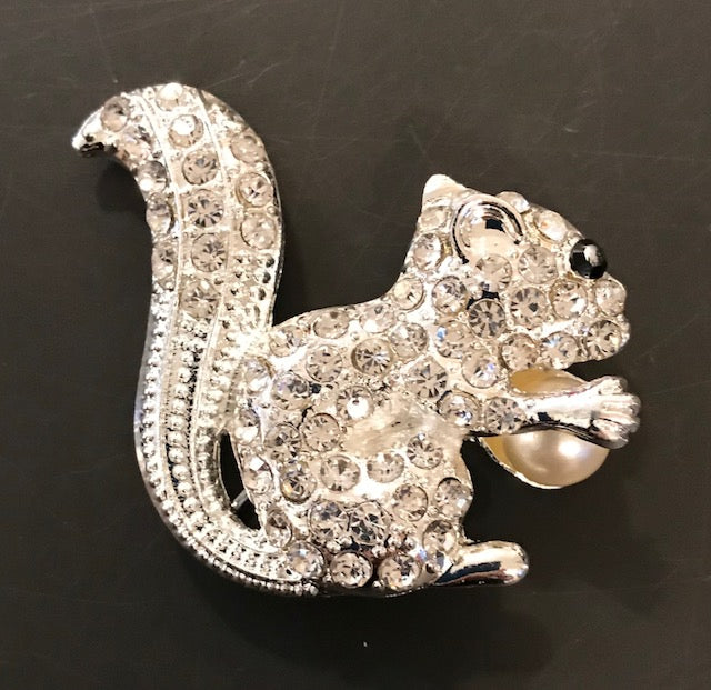 Jewelry-Rhinestone White Squirrel Brooch - Sweater or Hat Pin