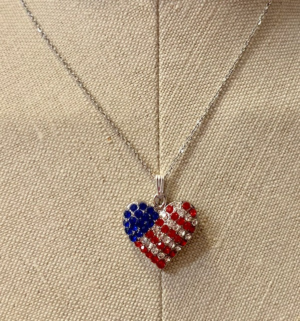 Patriotic Jewelry - Red, White & Blue Crystal Heart Pendant with Silver Chain