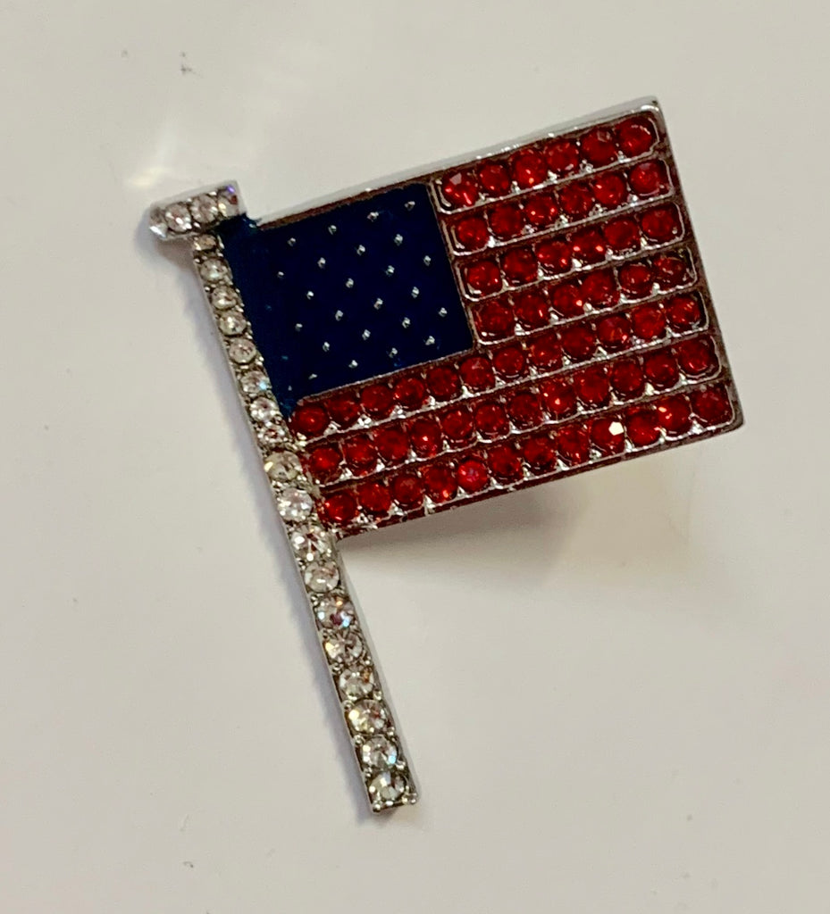 Patriotic Jewelry - Hat/Lapel Pin - One Dimensional American Flag with Red and White Crystals