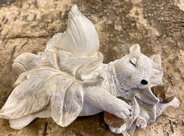 Home Decor - Sleeping White Squirrel Figurine - Hand-Painted