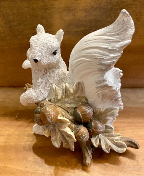 Home Decor - White Squirrel Figurine Holding a Branch of Acorns