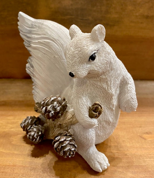Home Decor - White Squirrel Figurine Holding a Branch of Pine Cones